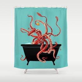 Giant Squid in Bathtub Shower Curtain