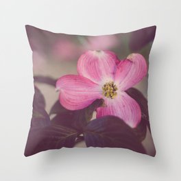 Pink Dogwood and Leaves Throw Pillow