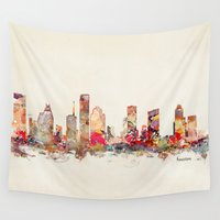 texas Wall Tapestries featuring houston texas by bri.buckley