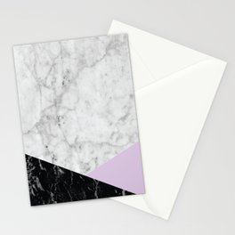 White Marble Black Granite & Light Purple #388 Stationery Cards