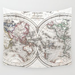 Vintage Map of The World (1848) Wall Tapestry