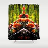 mushrooms Shower Curtains featuring mushrooms by haroulita