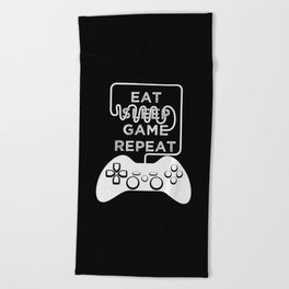 Eat Sleep Game Repeat Beach Towel
