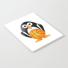 Funny penguin with a basketball ball Notebook