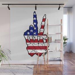 American Flag Skeleton Peace Sign Wall Mural