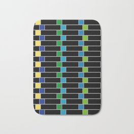 Colorful squares composition on black- multicolor gifts Bath Mat