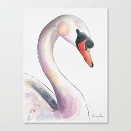 Swan Watercolor Canvas Print