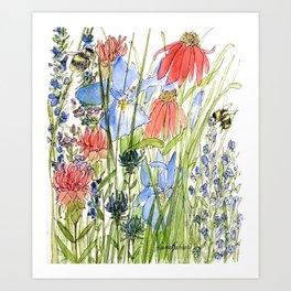 Botanical Garden Wildflowers and Bees Art Print
