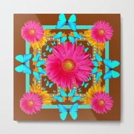 Coffee Brown Pink Flower Blue Butterfly Floral Art Metal Print