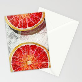 Citrus Grapefruit Mid Century slices color block mural_modern watercolor Stationery Cards