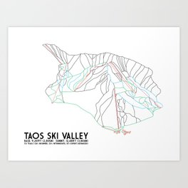 Taos Ski Valley, NM - Minimalist Trail Map Art Print