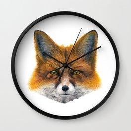 Fox face - Painting in acrylic Wall Clock