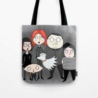 tim burton Tote Bags featuring Tim Burton Family Guy by Grace Isabel