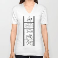 video games V-neck T-shirts featuring Video Games by Megan