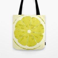 lemon Tote Bags featuring Lemon by Avigur