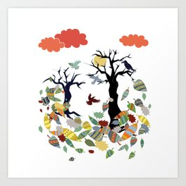 Leaves and crows Art Print