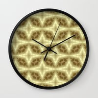 coasters Wall Clocks featuring Abstract Gold Pattern by Lena Photo Art