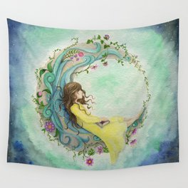 The Girl At The Moon Wall Tapestry
