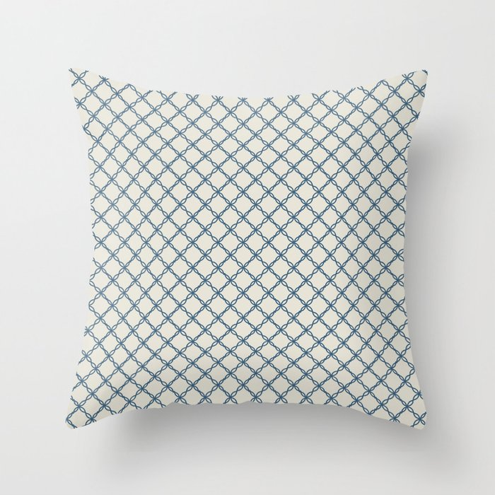 Linen White Scroll Grid Pattern on Calming Blue Pairs To 2020 Color of the Year Chinese Porcelain Throw Pillow