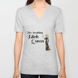 Fire-Breathing Bitch Queen Unisex V-Neck