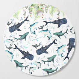 floral shark pattern Cutting Board