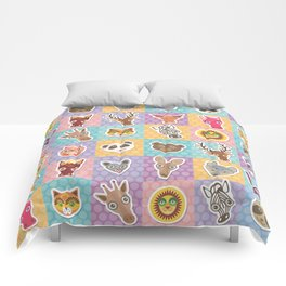 funny animals muzzle pattern with pink lilac blue orange square Comforters