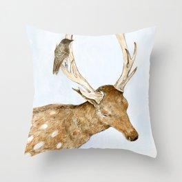 Deer and Bird Throw Pillow