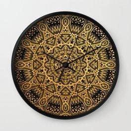 Mandala Black and Gold Art Pattern Wall Clock