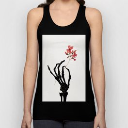 Skeleton Hand with Flower Unisex Tank Top