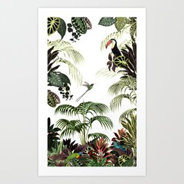 Tropical foliage and birds Art Print