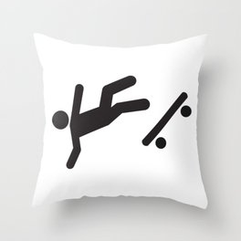 Stickman Skateboard Fall Throw Pillow