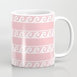 Pink and white Greek wave ornament pattern Coffee Mug
