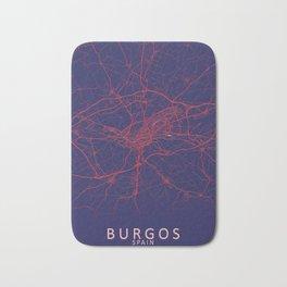 Burgos, Spain, Blue, White, City, Map Bath Mat