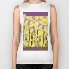 Purple-Yellow Calla Lilies Pattern Biker Tank