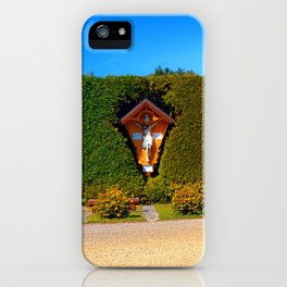 Jesus, a cross and a trimmed bush iPhone Case