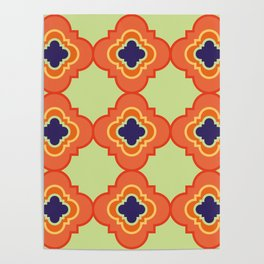Quatrefoil - orange and blue Poster