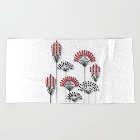 Square Flowers Beach Towel