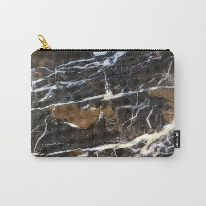 Stylish Polished Black Marble Carry-All Pouch