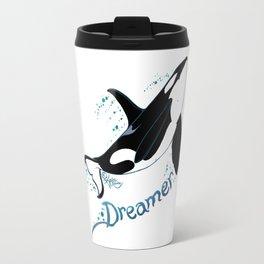 Dreamer Orca (Amber Marine, Indie Wildlife Artist Official Logo, Copyright 2015) Killer Whale Art Travel Mug