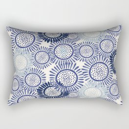 Indigo Blues Geometric Circles Rectangular Pillow