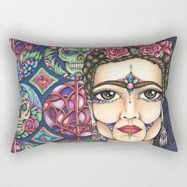 Frida Kahlo and Sugar Skulls By Amy Grigg Rectangular Pillow