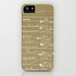 Library Card 23322 Negative Brown iPhone Case