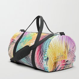 Jungle pampa colorful forest. Tropical fresh forest pattern with palms Duffle Bag