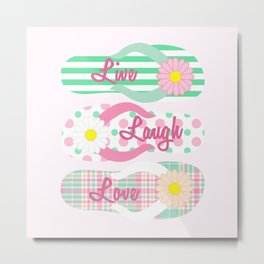 Live - Laugh - Love in Pink & Green Metal Print