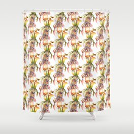 Watercolor Paphiopedilum  Orchids in Vivid Colors Shower Curtain