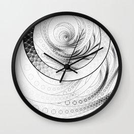 White on Black Circular Fractal of a Jinbaori Samurai Symbol Wall Clock