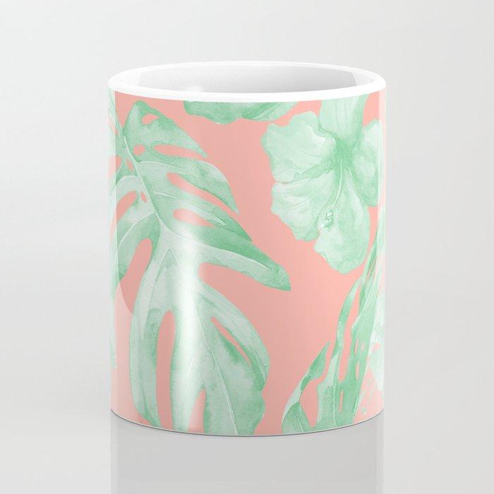 Tropical Palm Leaves Hibiscus Flowers Coral Green Coffee Mug
