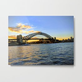 A Sunset Over The Harbour Bridge Metal Print