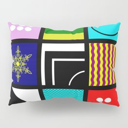 Eclectic 1 - Random collage of 9 bold colourful patterns in an abstract style Pillow Sham