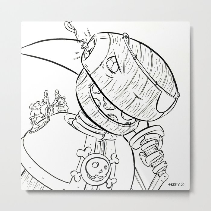 Robot Pirate - ink Metal Print